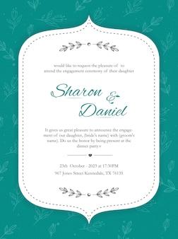 Design de cartão de convite com padrão floral
