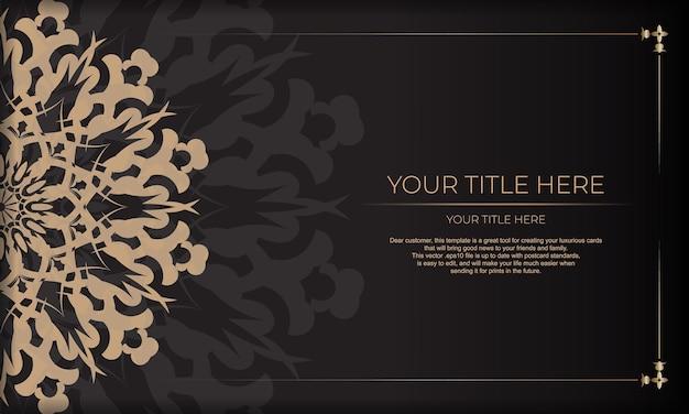 Design de cartão de convite com padrões vintage. banner apresentável preto com ornamentos luxuosos e lugar para o seu texto.