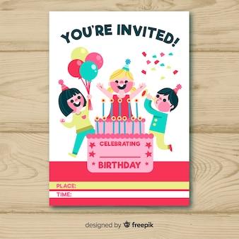 Design de cartão de convite de aniversário