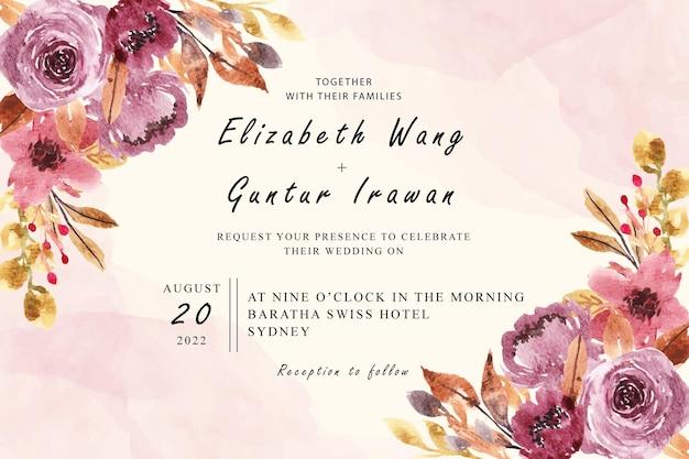 Design de cartão de convite de casamento com arranjo floral em aquarela