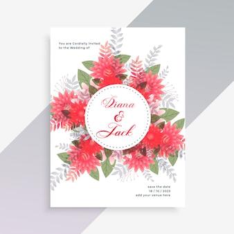 Design de cartão de convite de casamento com decoração de flores