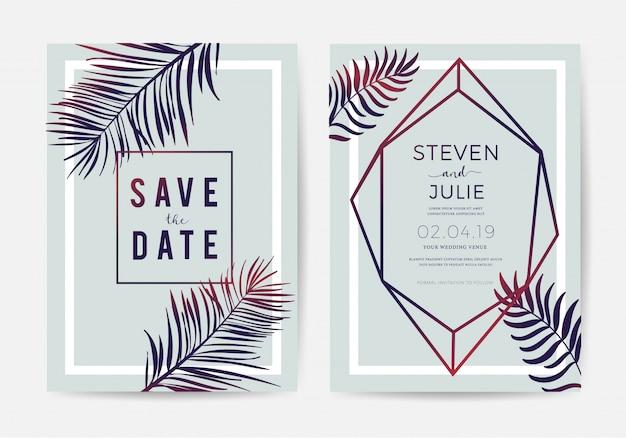 Design de cartão de convite de casamento com folhas tropicais