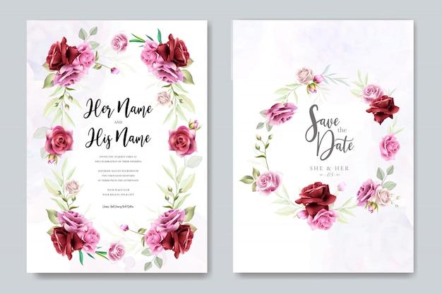 Design de cartão de convite de casamento com rosas elegantes