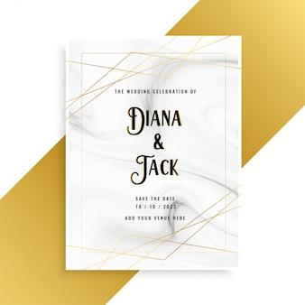 Design de cartão de convite de casamento de luxo com textura de mármore