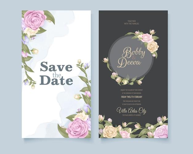 Design de cartão de convite de casamento de mídia social