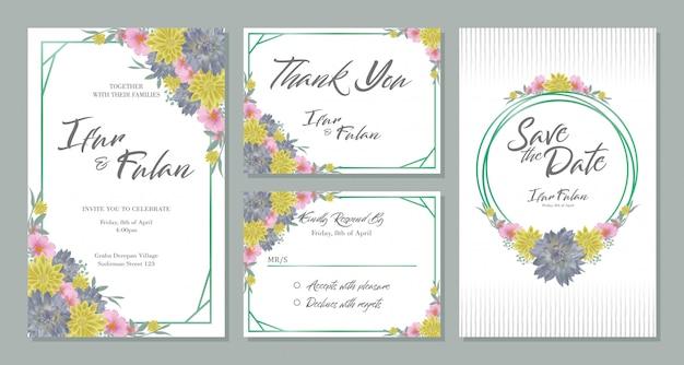 Design de cartão de convite de casamento define com flores