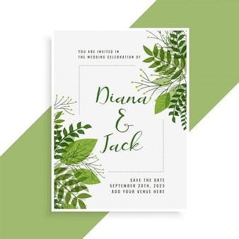Design de cartão de convite de casamento em estilo floral folhas verdes