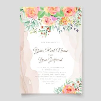 Design de cartão de convite de casamento floral aquarela