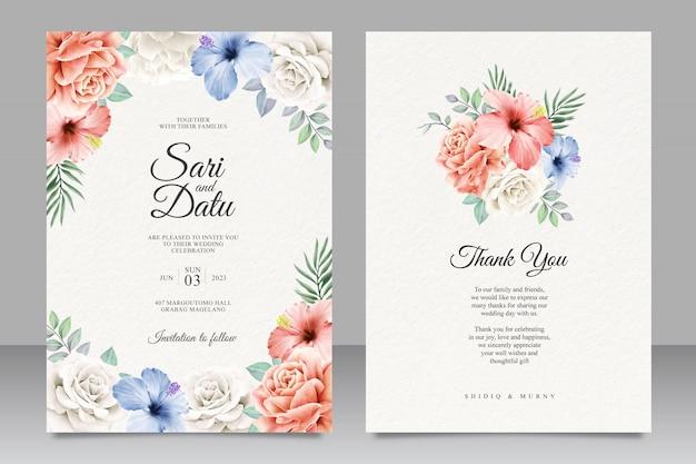 Design de cartão de convite de casamento floral colorido