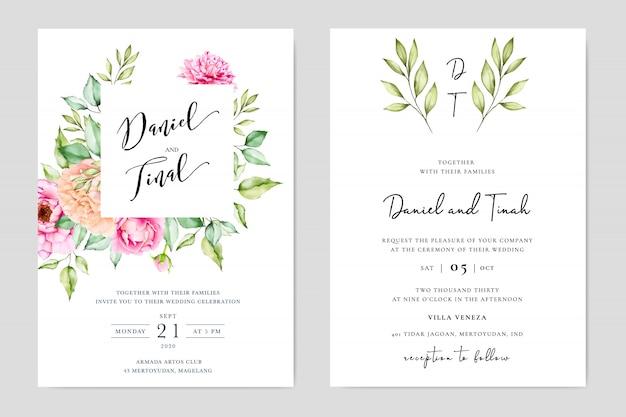 Design de cartão de convite de casamento floral elegante