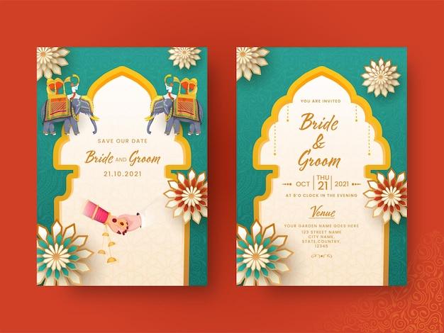 Design de cartão de convite de casamento indiano na apresentação dianteira e traseira.