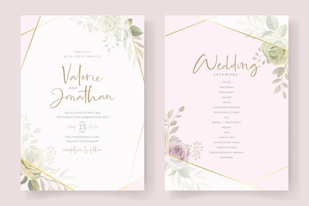 Design de cartão de convite de casamento lindo e macio floral