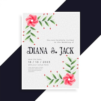 Design de cartão de convite de casamento lindo