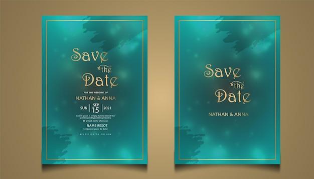 Design de cartão de convite de casamento moderno com linha dourada