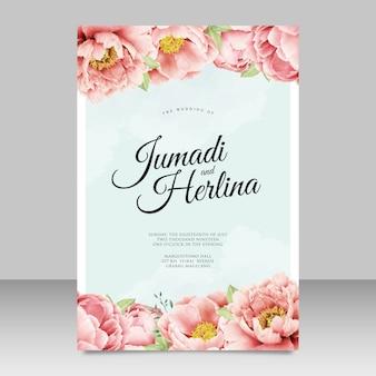 Design de cartão de convite de casamento peônias