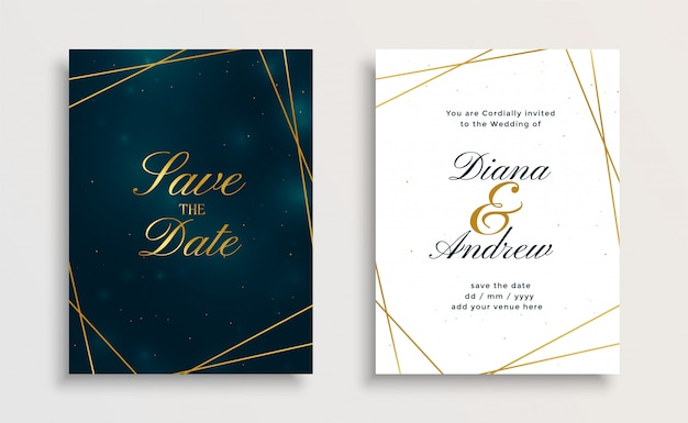 Design de cartão de convite de casamento real royal linha dourada