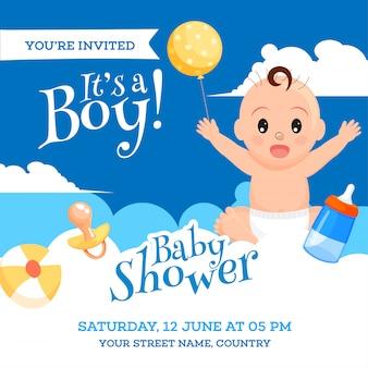 Design de cartão de convite de chuveiro de bebê com menino fofo, elementos