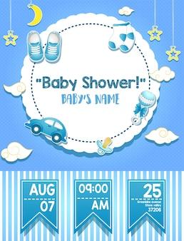 Design de cartão de convite de chuveiro de bebê para menino
