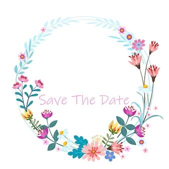 Design de cartão de convite de grinalda de flores coloridas.
