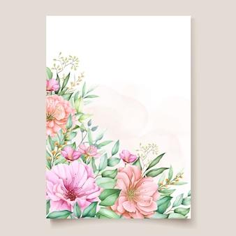 Design de cartão de convite floral aquarela