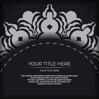 Design de cartão de convite pronto com enfeite indiano vintage.