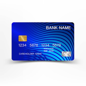 Design de cartão de crédito azul.