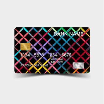Design de cartão de crédito geométrico colorido.