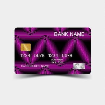 Design de cartão de crédito gradiente roxo. sobre o fundo cinza.