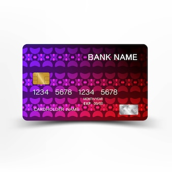 Design de cartão de crédito luxuoso plástico brilhante.