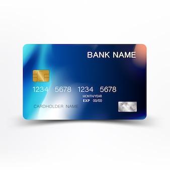 Design de cartão de crédito moderno azul.