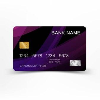 Design de cartão de crédito roxo.