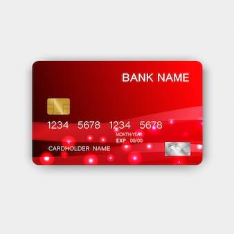 Design de cartão de crédito vermelho luxuoso plástico brilhante.