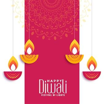 Design de cartão de desejos criativos feliz de diwali
