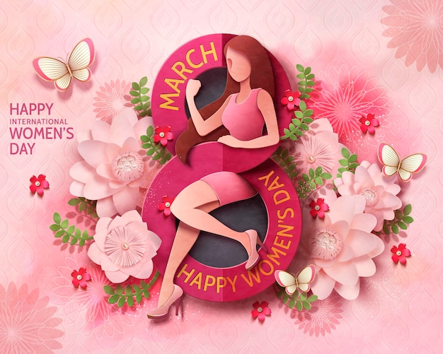 Design de cartão de dia da mulher, 8 de março, com mulher sexy e forte e flores cor de rosa em papel artesanal