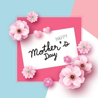 Design de cartão de dia das mães de flores cor de rosa sobre fundo de papel de cor