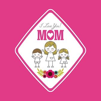 Design de cartão de dia das mães feliz