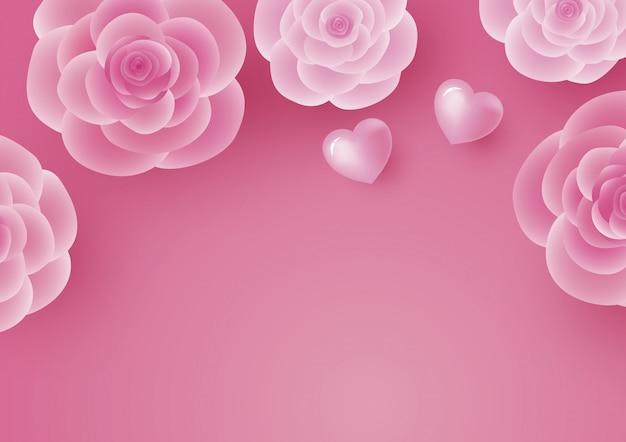Design de cartão de dia dos namorados de flor rosa e coração
