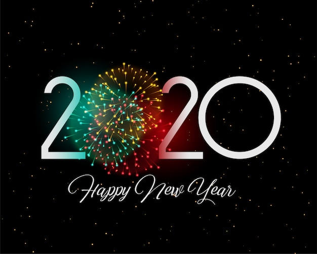 Design de cartão de estilo de ano novo de fogos de artifício celebração 2020