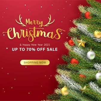Design de cartão de felicitações e banner de venda com objetos de natal