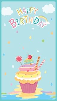Design de cartão de feliz aniversário com bolinho de arco-íris
