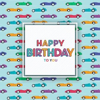 Design de cartão de feliz aniversário com carros de corrida