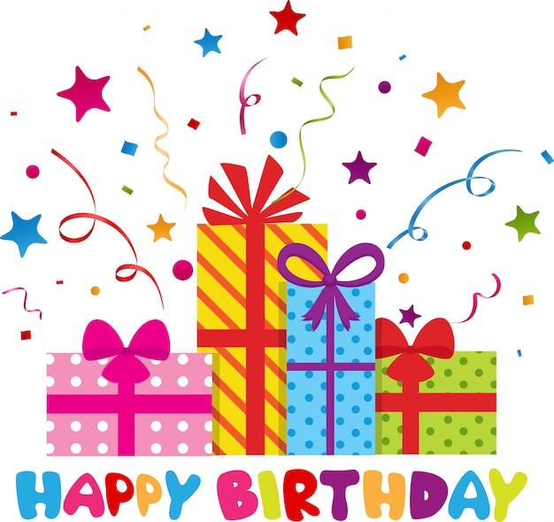 Design de cartão de feliz aniversário com confete