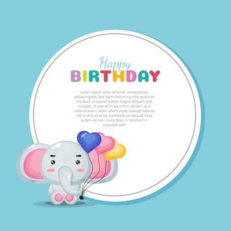Design de cartão de feliz aniversário com elefante fofo