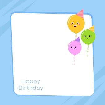 Design de cartão de feliz aniversário com espaço de texto e ballons