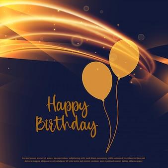 Design de cartão de feliz aniversário dourado brilhante com raia de luz