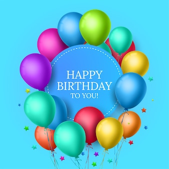 Design de cartão de feliz aniversário para convites e celebração com balões coloridos