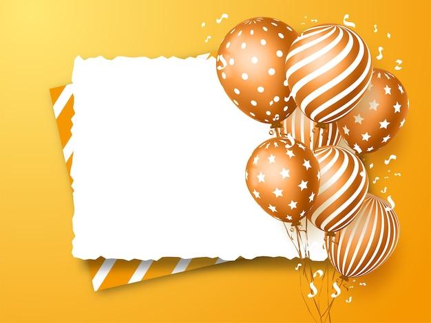 Design de cartão de feliz aniversário para convites e celebração com balões