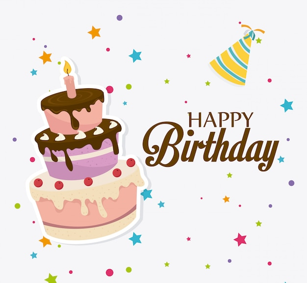 Design de cartão de feliz aniversário.