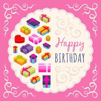 Design de cartão de feliz aniversário