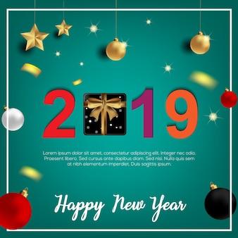 Design de cartão de feliz ano novo.